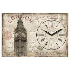big ben wall clock shabby chic distressed metal postcard design new  westclox . big ben wall clock ...