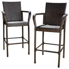 stewart outdoor brown wicker bar stool set of 2