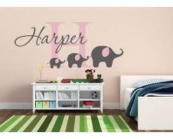 personalised name monogram sticker with elephants on elephant nursery wall art uk with animal wall stickers owl birds butterfly giraffe elephant
