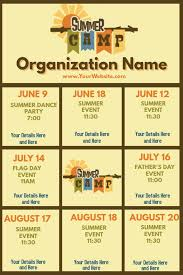 Upcoming Events Calendar Summer Camp Template Postermywall