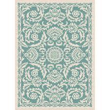 5 x 7 medium aqua oriental indoor outdoor rug garden city rc willey furniture