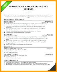 Resume For Food Server Resume For Fast Food Server Letsdeliver Co