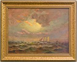 good another charles appel oil painting called coming into port with its original frame made around 1910 it is 15 1 2 x 19 1 2 od