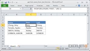 Excel formula: Get first name from name with comma | Exceljet