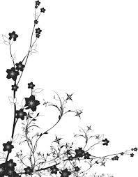 白黒モノクロの花のイラストフリー素材ライン線コーナー用no901