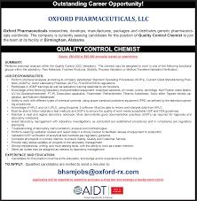 Qc Chemist Jobs Resume Cv Cover Letter