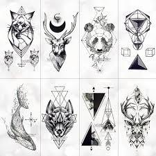 черный геометрический кит временные татуировки луна олень роза татуировки