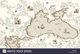 Medieval Cartography Old Pirate Treasure Map Vector