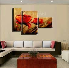 wall art 3 piece abstract modern canvas wall art handmade red poppy fl oil painting on canvas for living room home decoration