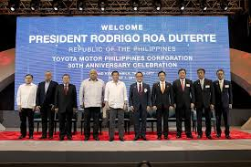 the celebration event for toyota motor philippines 30 years in the country was celebrated with philippine president rodrigo duterte and president of toyota