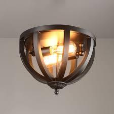 industrial flush mount ceiling lights. Wrought Iron 2 Light LED Flush Mount In Black Cage Industrial Ceiling Lights I