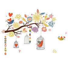 Amazing gallery of interior design and decorating ideas of cage wall sconce in bedrooms, nurseries, bathrooms, laundry/mudrooms, boy's. Colorful Branch Bird Cage Wall Sticker