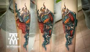 акварельные тату рыбы на руке цветная татуировка метла тату