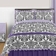 lavender purple black and white sloane 3pc full queen girls bedding set by sweet jojo designs only 49 01