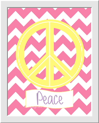 Peace Sign Bedroom Decor Pink Girls Room Wall Art Baby Nursery Decor Peace Love Happiness