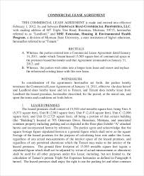 Standard Commercial Lease Agreement Standard Lease Agreement Sample 8 Examples In Pdf Word Template