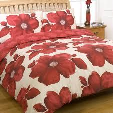 dreamscene red white poppy superking bedding set prev next