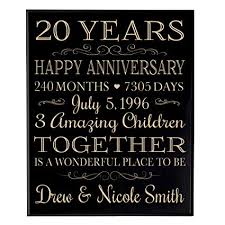 personalized 20th wedding anniversary gift ideas for couple 20 year anniversary gifts custom end family