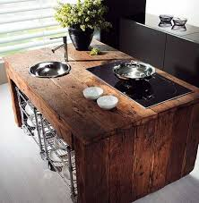 modern kitchen island. Interior Decoration:Ultra Modern Kitchen With Rectangle Brown Rustic Reclaimed Wood Kitcehn Island Sutlery