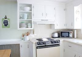 Kitchen L Shaped Stained White Kitchen Cabinets Wood Soup Spoon