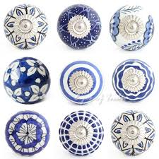 Blue Indigo Patterned Ceramic Door Knobs which are truly unique