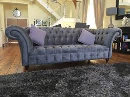 grey velvet chesterfield sofa. Brilliant Velvet Image Is Loading MODERNHANDMADE3SEATERSLATEGREYFABRICVELVET In Grey Velvet Chesterfield Sofa E