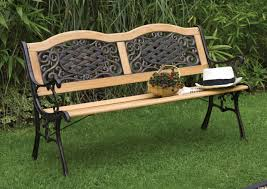 graceful garden outdoor furniture decor featuring voluptuous wooden lowes outdoor benches combine gorgeous iron black iron outdoor furniture