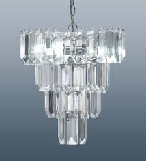 4 tier prism chandelier ceiling light fitting crystal effect droplets chrome