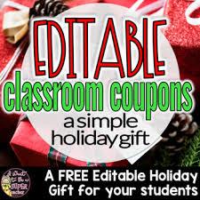 Free Christmas Gift For Students Editable Holiday Classroom Coupons