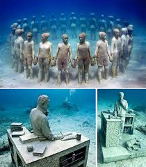 real underwater world.  World Underwater Museum Mexico And Real World E