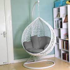 tinkertonk rattan swing chair patio garden wicker hanging egg chair hammock w cushion cover indoor or outdoor max 150kg white co uk garden
