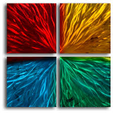 metal wall art decor abstract contemporary modern four square colored ripples on colorful metal wall art decor with metal wall art decor abstract contemporary modern four square