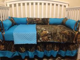 turquoise blue mossy oak fabric hunter camo 4pc crib bedding set