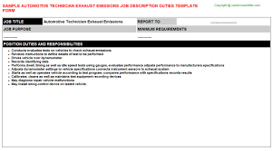 Automotive Technician Exhaust Emissions Job Description
