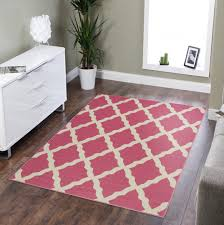 ottomanson glamour collection hot contemporary moroccan trellis design kids non slip kitchen and bathroom mat rug 5 0 x 6 6 pink ottomanson