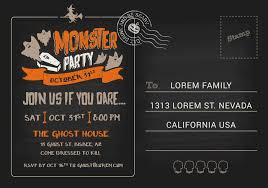 Party Rsvp Template Halloween Monster Costume Party Postcard Invitation Template