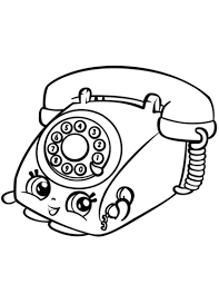 Telephone Coloring Pages Chatter Rotary Telephone Shopkin Coloring
