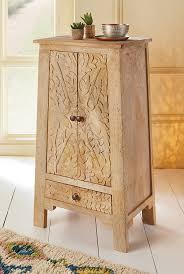 carved wooden tapered bedside cabinet