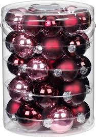 Magic 44er Set Glas Weihnachtskugeln ø4 6 Cm Inkl 50 Stk Schnellaufhänger Bordeauxrosa