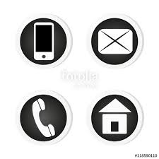 White Address Vector Contact Buttons Email Phone Mobile Address Icons Eps