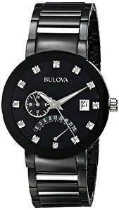 "bulova men s 98d109 diamond accented black stainless steel watch black stainless steel watch ï"""" ï""…"