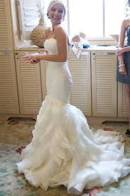 mermaid sweetheart court train organza wedding dresses pgmdress