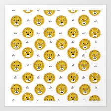 Lion cute pattern nursery kids <b>geometric</b> triangle animal <b>safari</b> Art Print