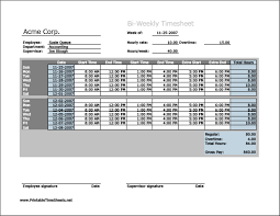Biweekly Timesheet (horizontal orientation) with overtime ...