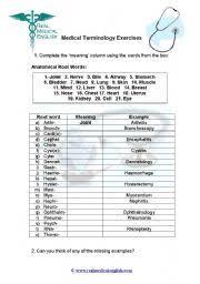 Med Sheets Printables 53 Medical Terminology Worksheet Worksheet Medical Teaching Medical
