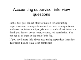 Best Solutions Of Accounting Supervisor Interview Questions 1 638 Cb