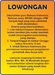Banyak lowongan kerja jombang, sebanyak 29 loker jombang by lowongan kerja 15. Lowongan Guru Al Musthofa