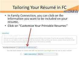 Tailoring Your Rsum in FC In Family Connection, you can click on the  information you