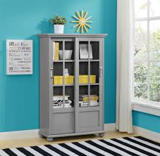 ameriwood furniture aaron lane bookcase with sliding glass doors gray