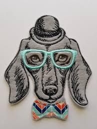 Dapper Dachshund Designs Custom Dapper Dachshund Embroidered Patch Dachshund Specs